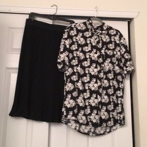 nwot lularoe button down and pleated skirt outfit